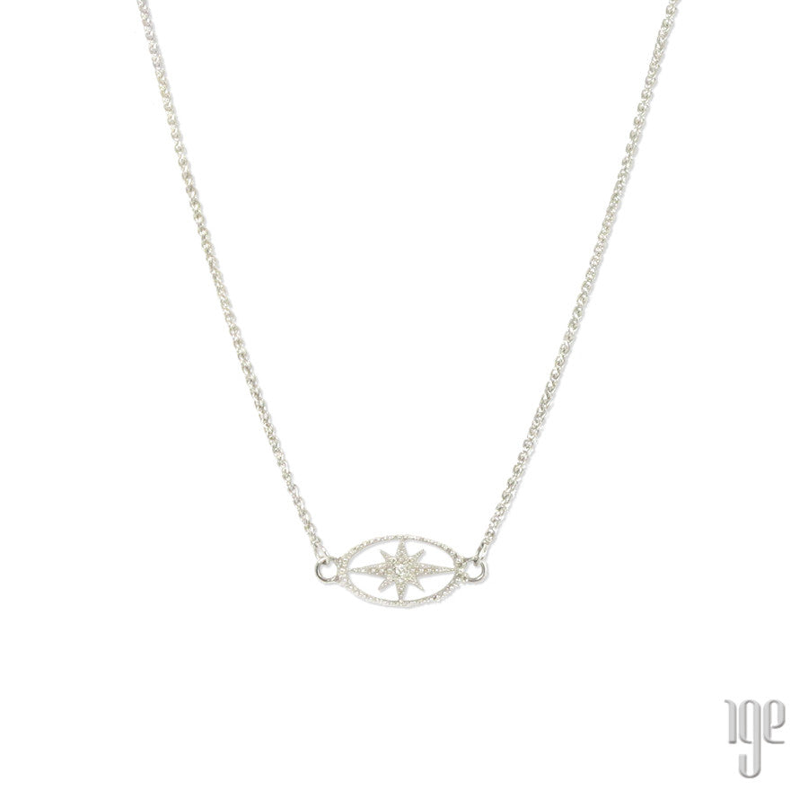 Diamond Starburst Oval Necklace