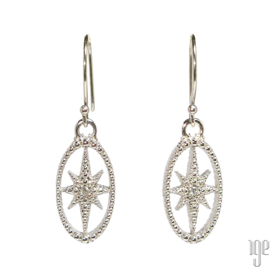 Diamond Starburst Oval Earrings