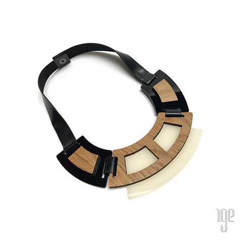 Geometric Wood & Acrylic Necklace - milk white