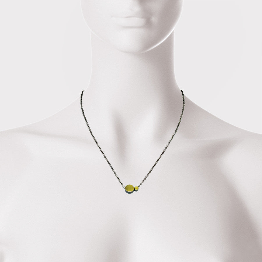 Gold Two Dot and Sterling Silver Necklace