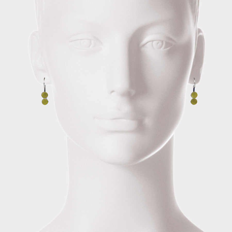 22kt Gold and Sterling Two Dot Earrings