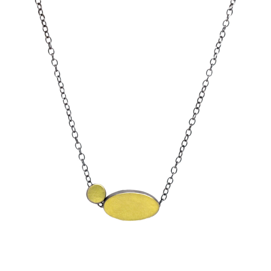 Gold Oval and Dot Sterling Silver Necklace