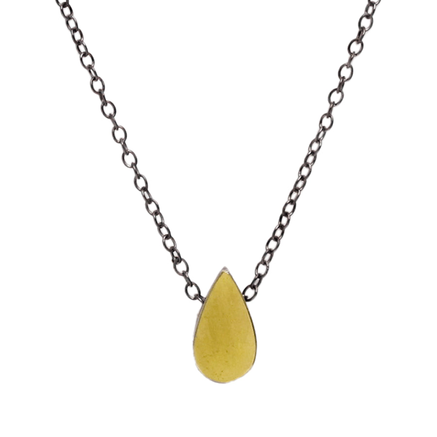 Gold Teardrop and Sterling Silver Necklace
