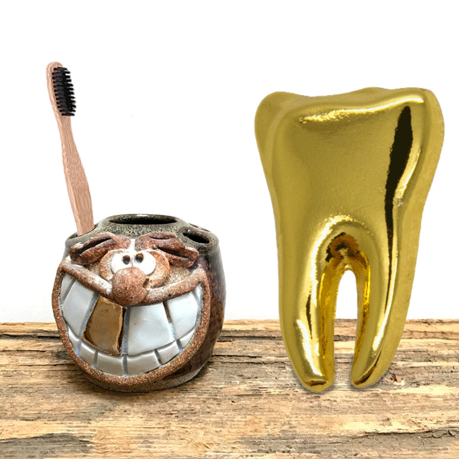 70-80s Rare Eakin Gold Tooth Funny Face Toothbrush Holder