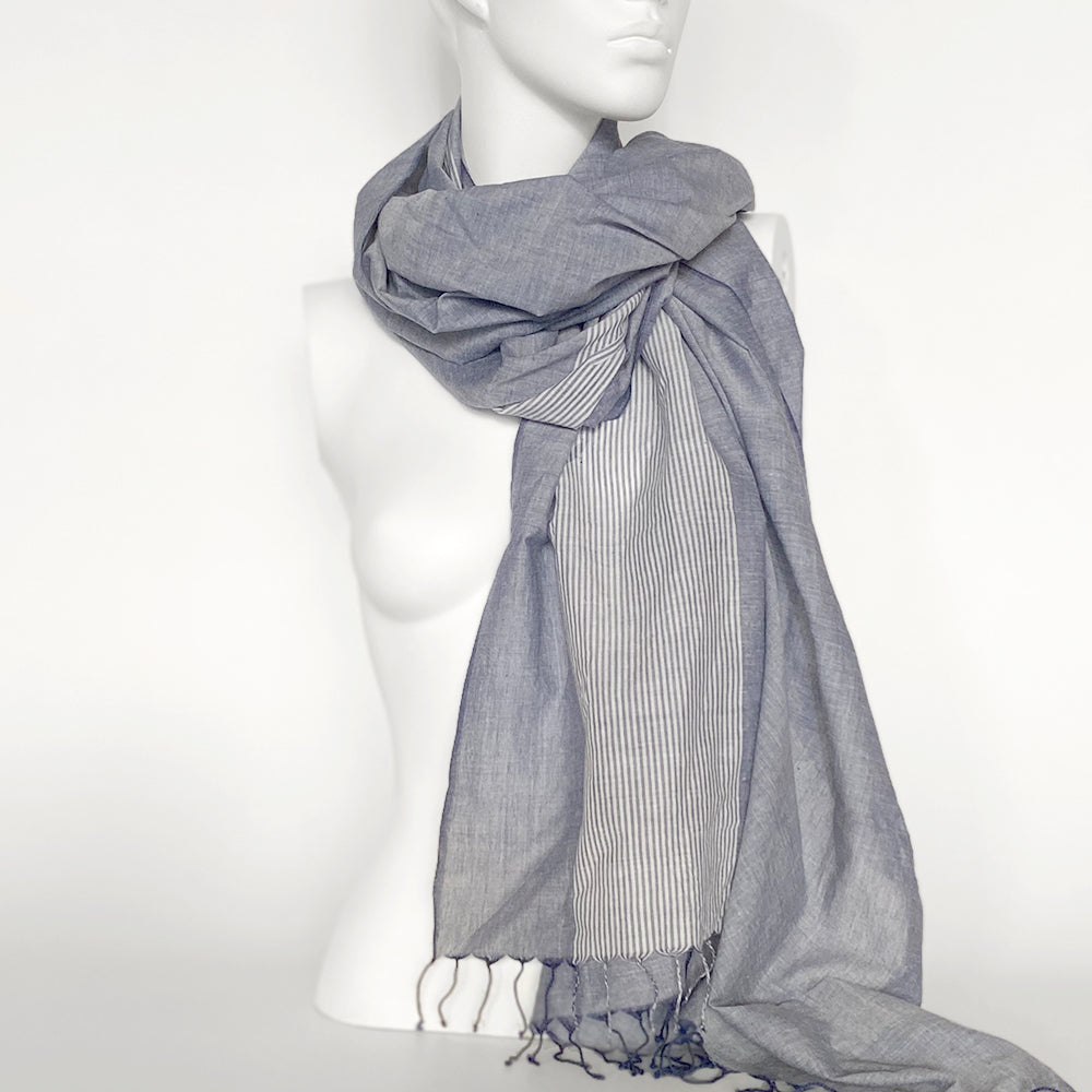 Faded Denim Striped Scarf | Blue