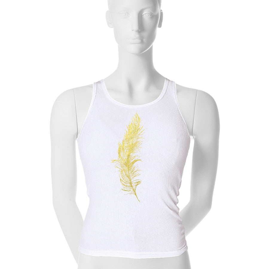 Metallic Feather Tank Top - 1 (SM) / gold foil - 2 (MD) / gold foil - 3 (LG) / gold foil