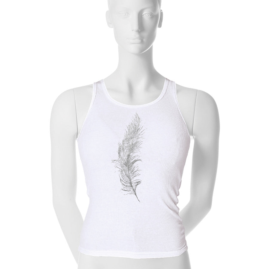Metallic Feather Tank Top - 1 (SM) / gunmetal foil - 2 (MD) / gunmetal foil - 3 (LG) / gunmetal foil