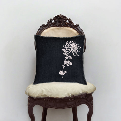 Denim Flocked Peony Pillow