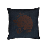 Denim Flocked Peony Pillow - Brown