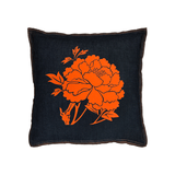 Denim Flocked Peony Pillow - Orange