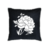 Denim Flocked Peony Pillow - White