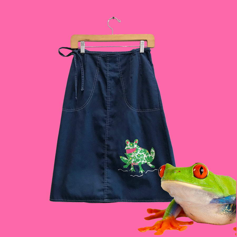 70s Vintage Blue Appliqué Frog Skirt