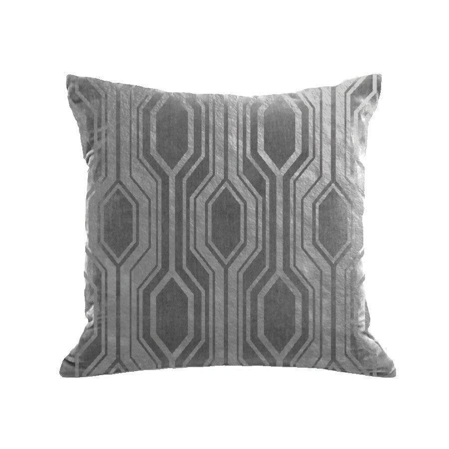 Geo Pillow - platinum / gunmetal foil / 18 x 18""