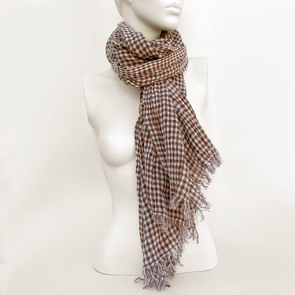 Gingham Check Brown & White Scarf