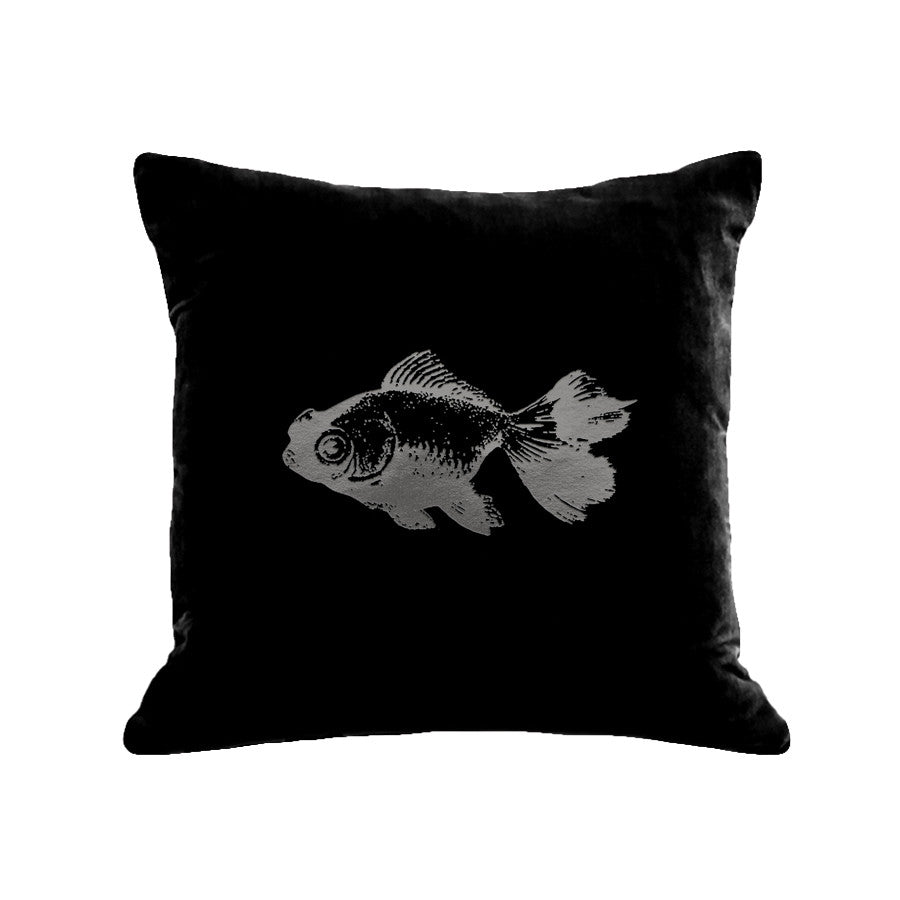 Goldfish Pillow - black / gunmetal foil