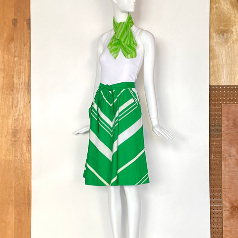 60s Green & White Chevron Skirt