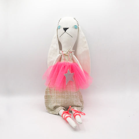 H Luv Fancy Rabbit with Tutu | Hand Drawn Checkered Pattern