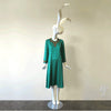 Handmade Kelly Green Silk Dress with Beaded Appliqué Trim