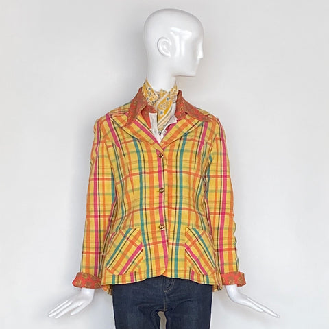 70's Seersucker Yellow Madras Three Button Blazer