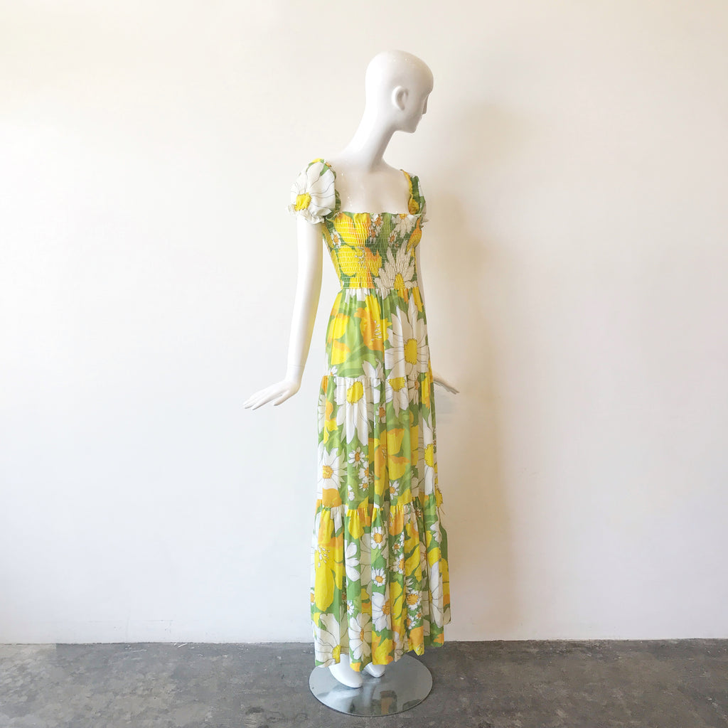 70s Mellow Yellow Floral Puff Sleeve Maxi Dress