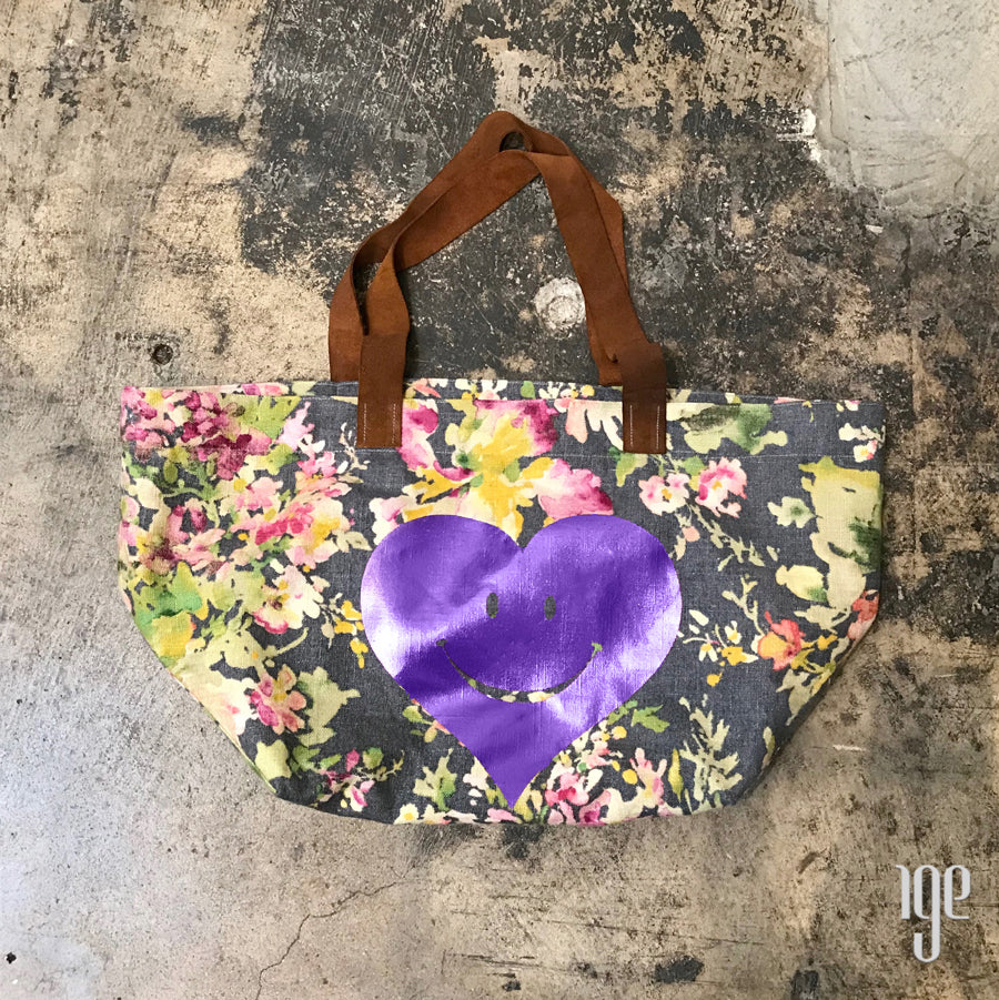 Pictorial Print Happy Heart Dark Floral Tote