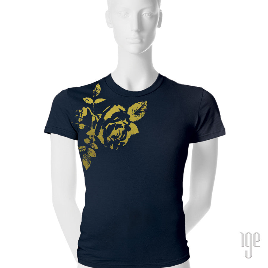 Rose Bud T-Shirt - 1 (SM) / navy-gold - 2 (MD) / navy-gold