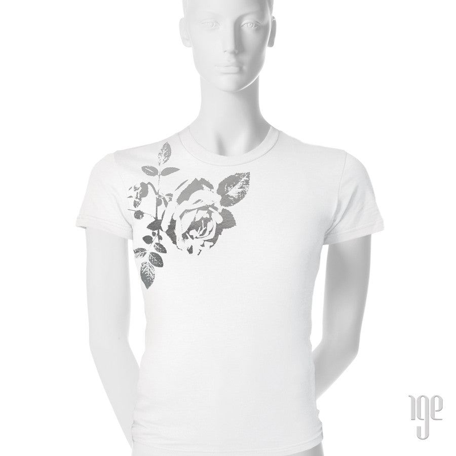Rose Bud T-Shirt - 1 (SM) / white-gunmetal - 2 (MD) / white-gunmetal