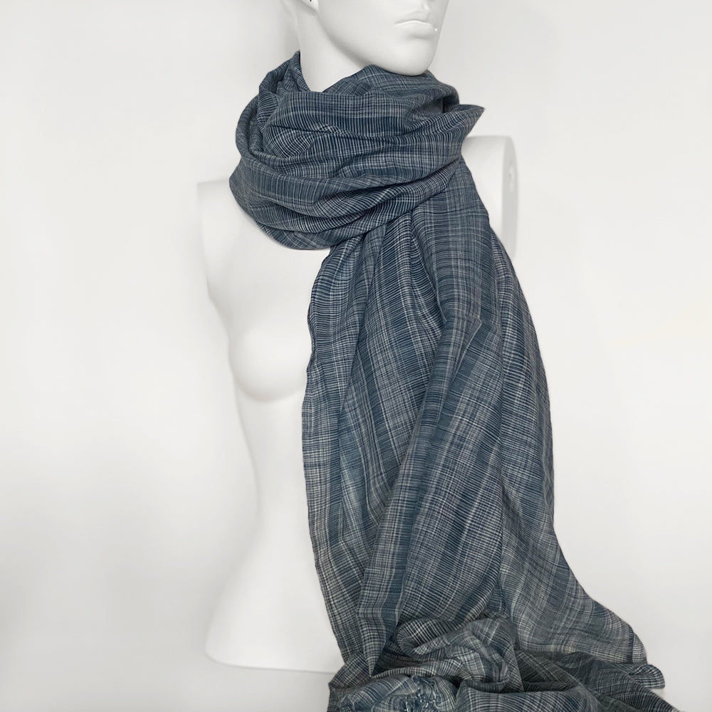 Ikat Check Cotton Scarf | Blue