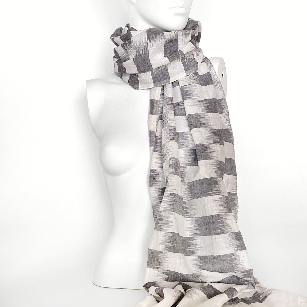Handwoven Checkerboard Ikat Scarf