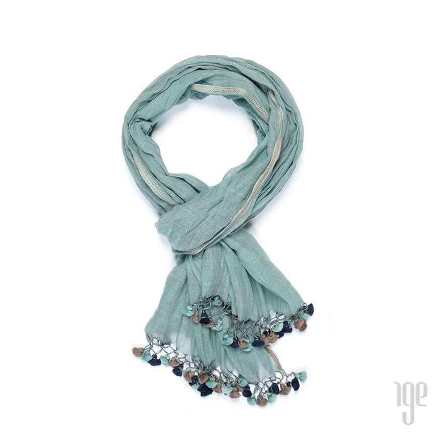 Pin Striped Baubles Pom Pom Scarf
