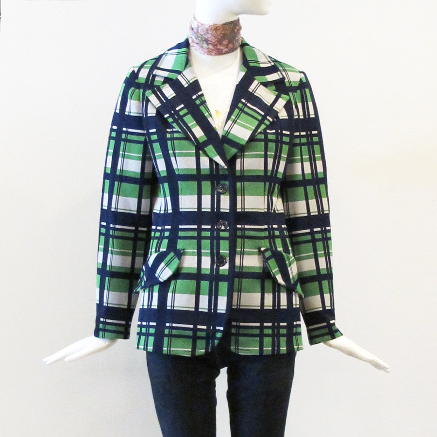 70's Poly Plaid Three-Button Jacket