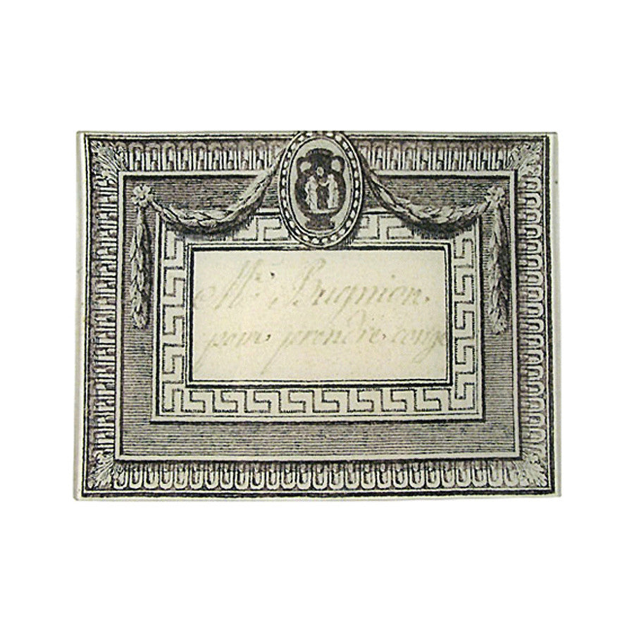 18th Century Calling Card: M. Bugnion Tray