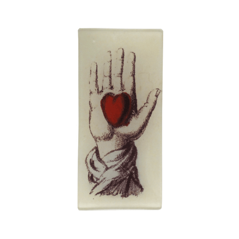 "Holding Heart in Hand Tray - 7 x 3.5"" Rectangle"