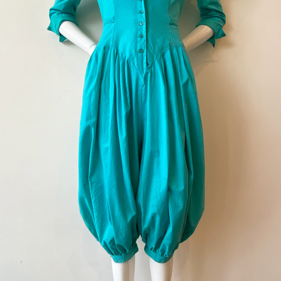 80s Turquoise Puff Sleeve Harem Pant Jumpsuit | Our Favorite!