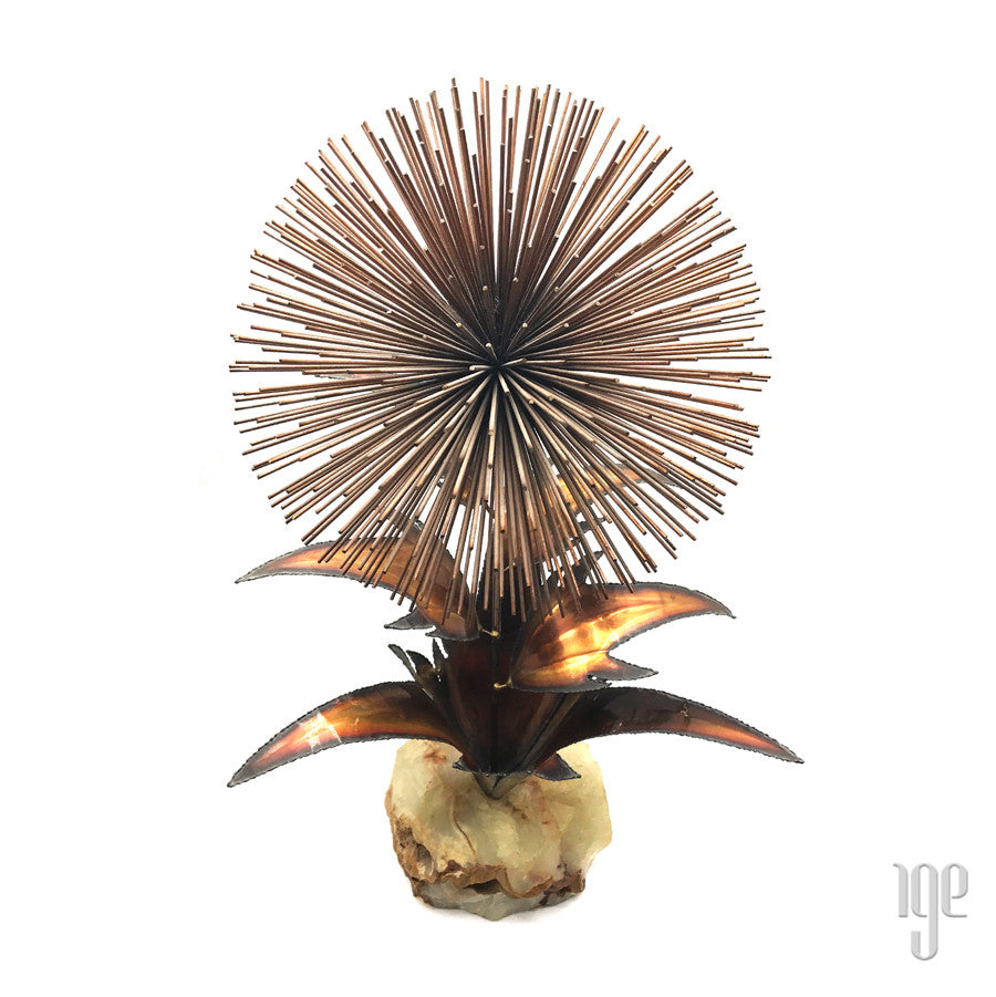 Rare Vintage Brass Brutalist Kinetic Dandelion Sculpture