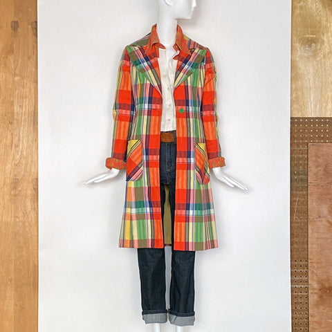 70's Knee Length Madras Plaid Coat