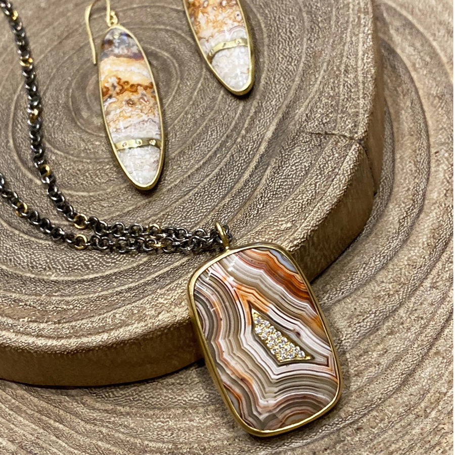 crazy lace agate emerald and tourmaline sterling silver pendant necklace