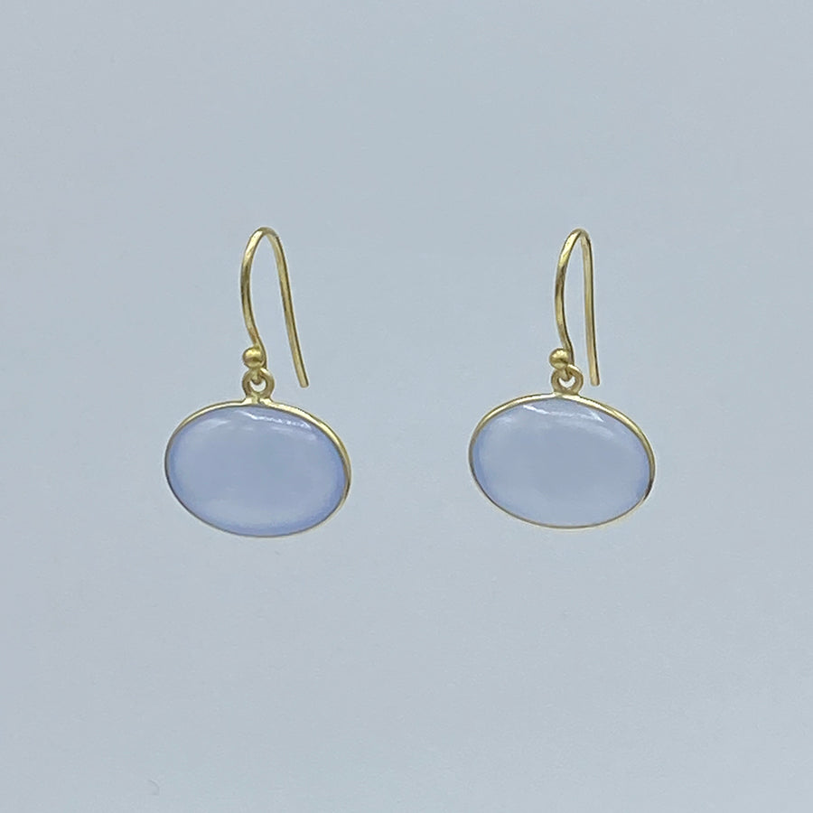 Kothari | Large Horizontal Earrings | Chalcedony