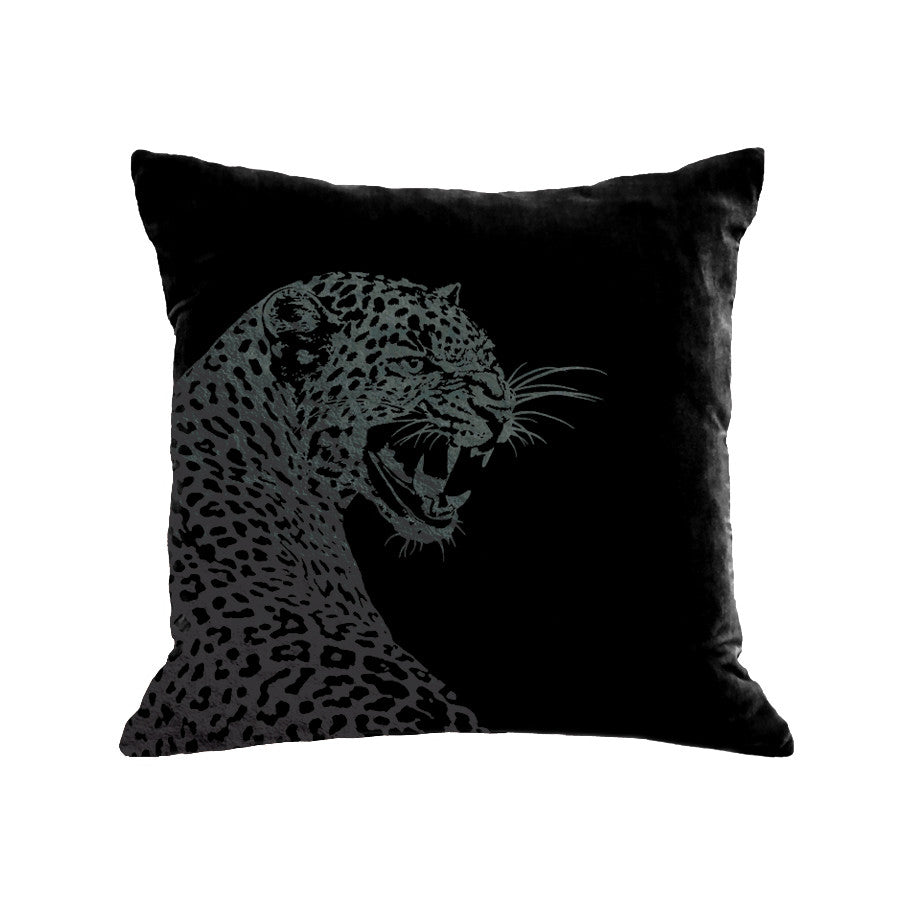Leopard Pillow - black / black foil / 18 x 18""