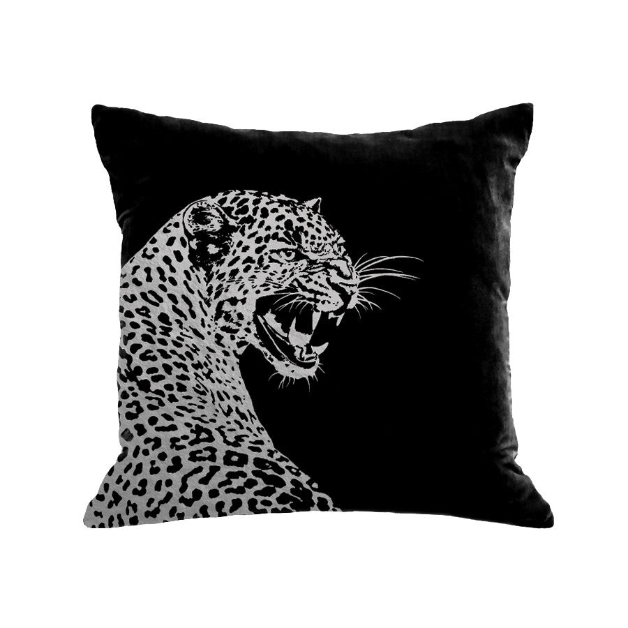 Leopard Pillow - black / gunmetal foil / 18 x 18""
