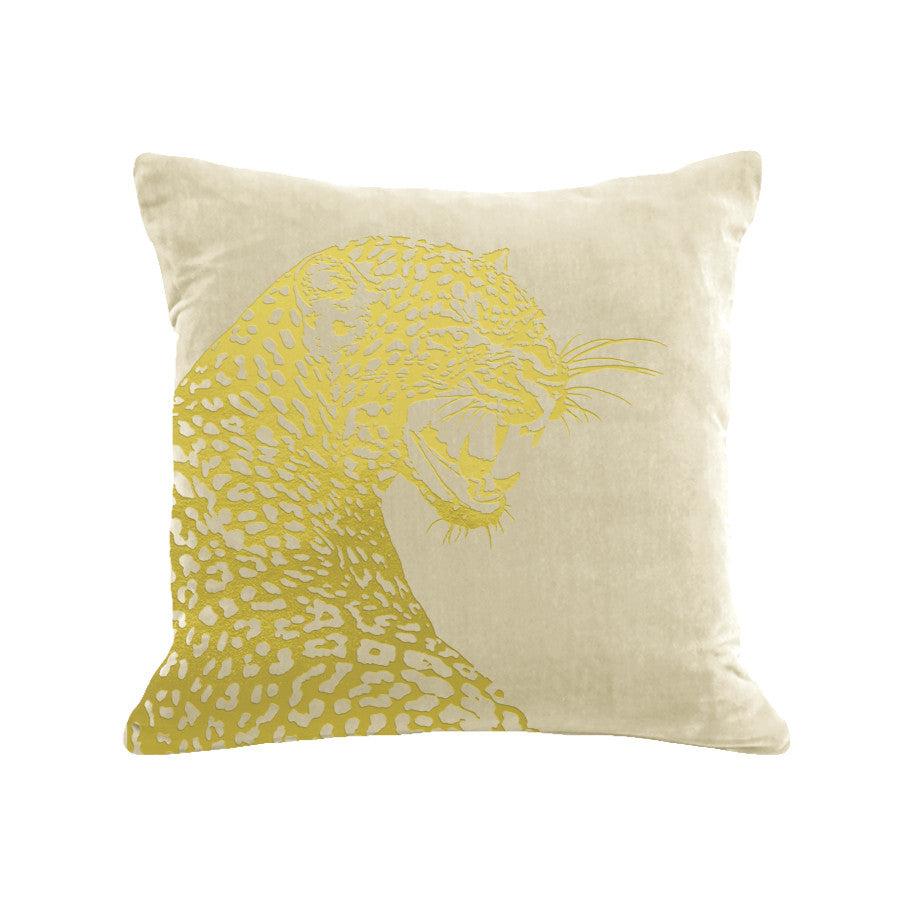 Leopard Pillow - cream / gold foil / 18 x 18""