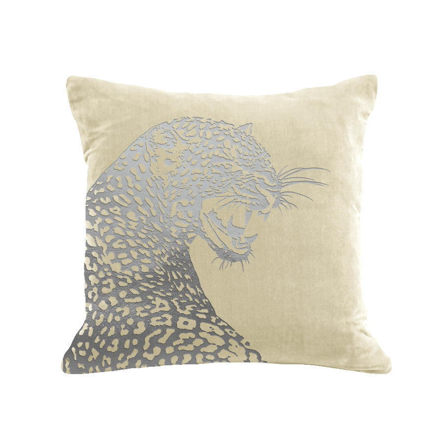 Leopard Pillow - cream / gunmetal foil / 18 x 18""