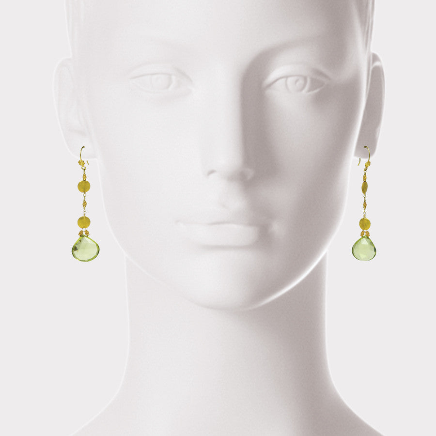 Citrine Drop and 18kt Gold Dangle Earrings