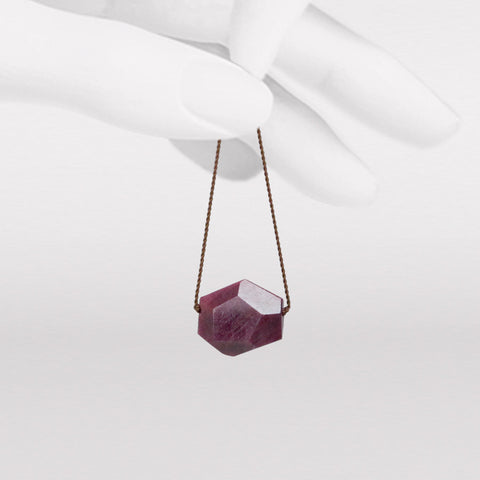 Faceted Asymmetrical Ruby Necklace
