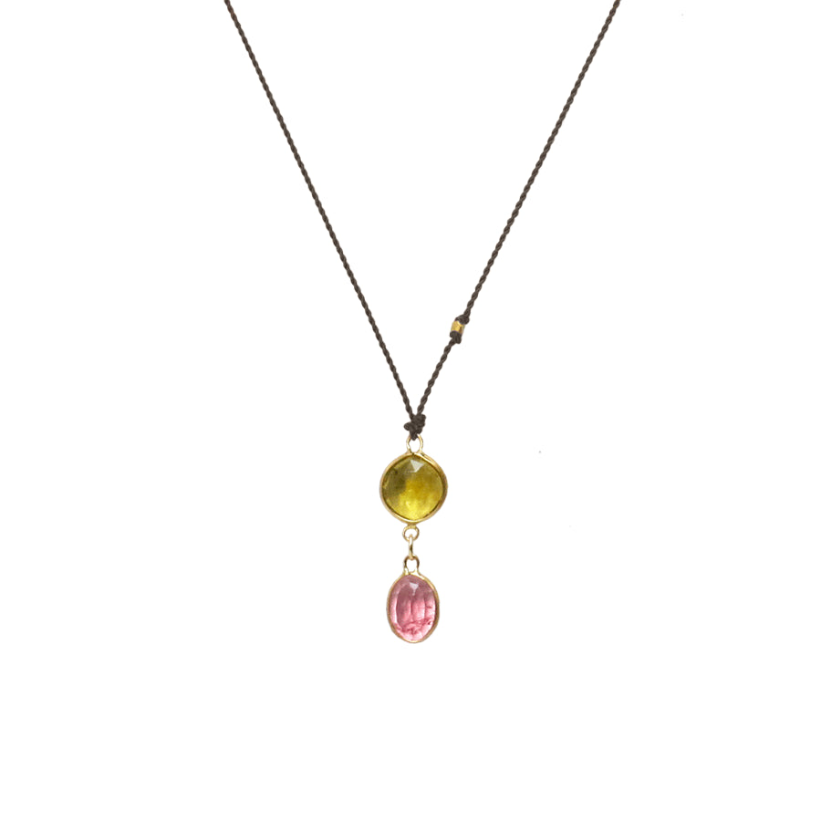 14kt Bezel Set Pink Sapphire and Chartreuse Green Tourmaline Necklace