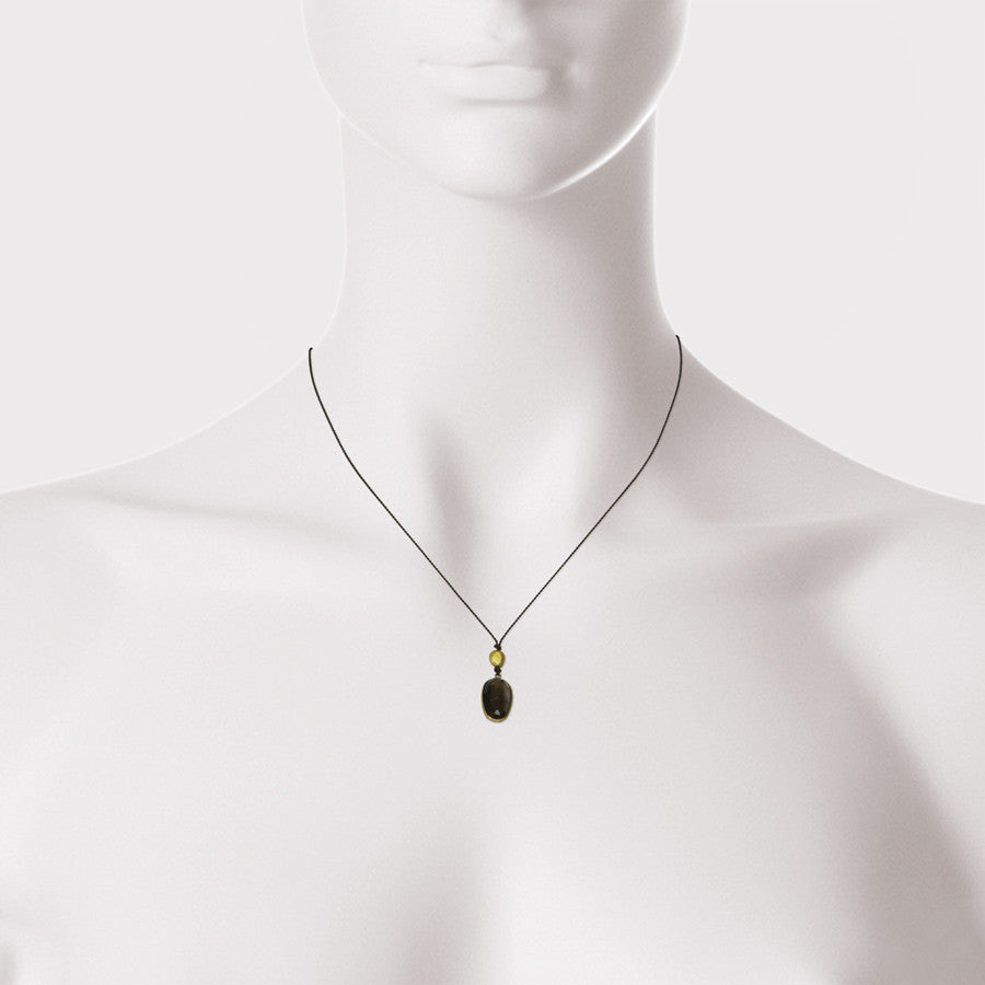 Rose Cut Faceted Tourmaline and 18kt Gold Bead Necklace
