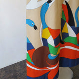Vintage Abstract Goose Print Halter Dress