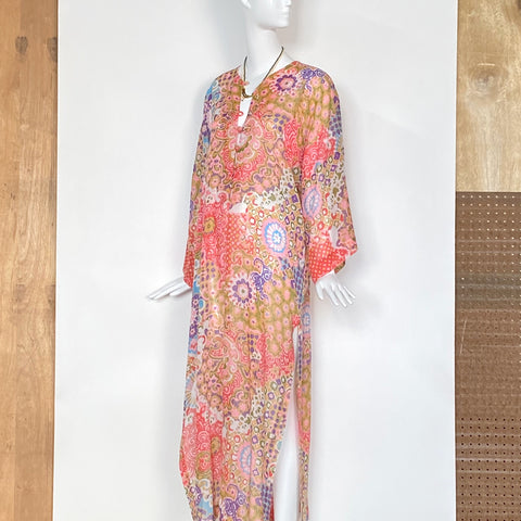 70's Light Weight Sheer Floral Print Kaftan