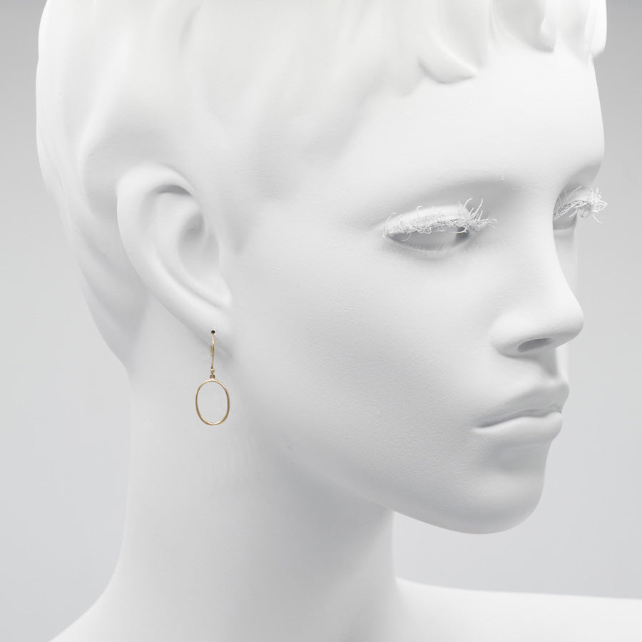 "Marion Cage 14kt Gold ""O"" Drop Earrings"