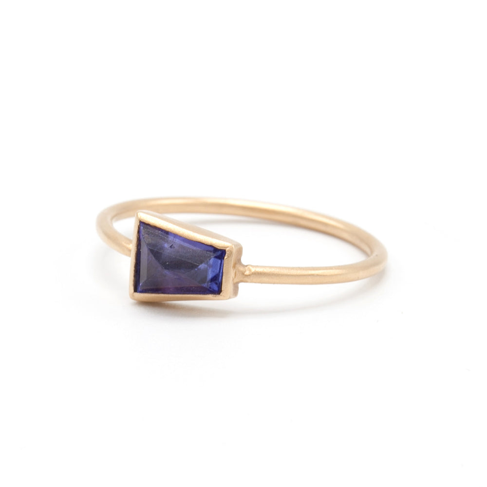 Marion Cage | Geo Tanzanite Rose Gold Stacking Ring | One of a kind